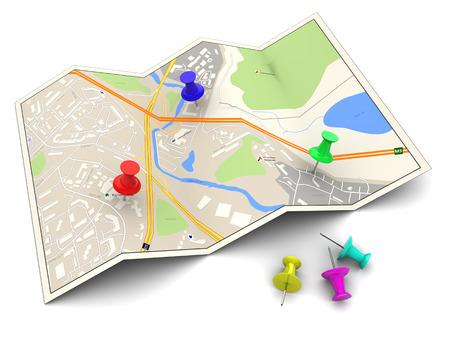 3D-afbeelding van de stad kaart met kleurrijke pennen