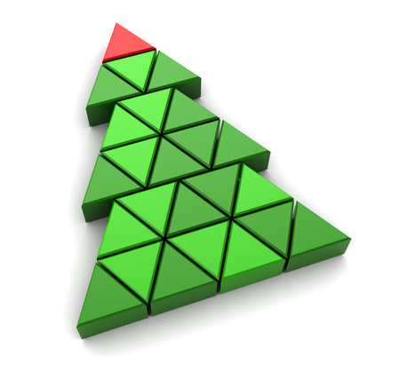 christmas tree illustration: abstract 3d illustration of triangles christmas tree