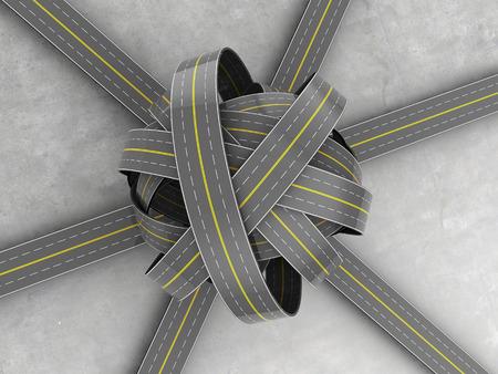 3d illustration of roads knot over concrete background