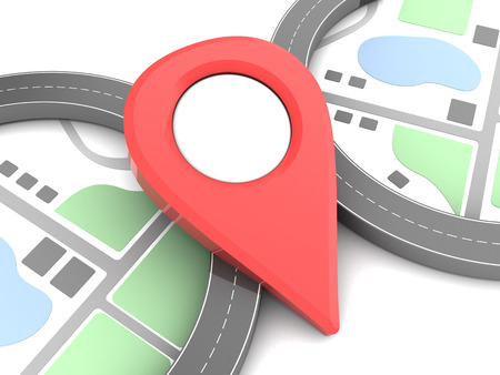 information point: 3d illustration of map with roads and red pin Stock Photo