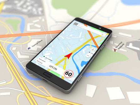 navigation: 3d illustration of navigation on smartphone