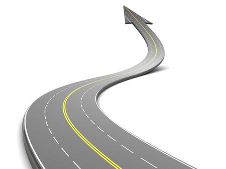 흰색 배경 위에 화살표와 고속도로의 3D 그림,