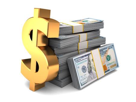 dollaro: Illustrazione 3d di banconote in dollari e segno d'oro