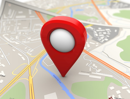 geographical locations: 3d illustration of red pin over map background