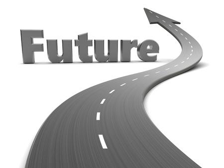 future sign: 3d illustration of future sign and asphalt road