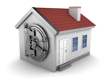 safe house: abstract 3d illustration of house with bank vaulted door