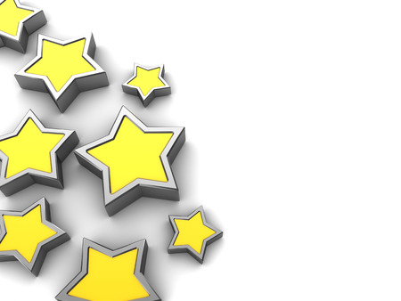 yellow star: abstract 3d illustration of background with stars