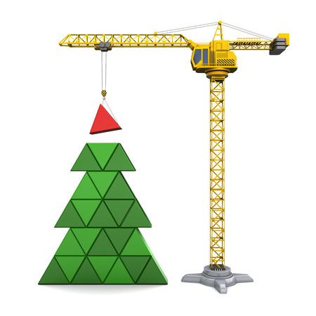 白い背景の上のクリスマス ツリーを構築クレーンの抽象的な 3 d イラスト