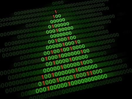0 1 year: 3d illustration of Christmas tree binary code