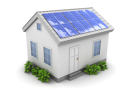 solar panel house: 3d illustration of house with green plants and solar panel on roof