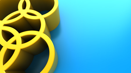 circle abstract: abstract 3d illustration of blue background with yellow circles