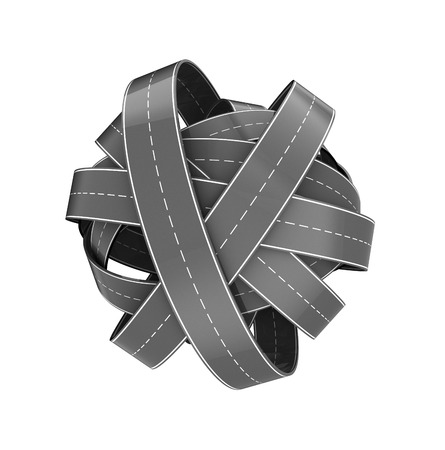 gefesselt: 3d illustration of roads knot isolated over white