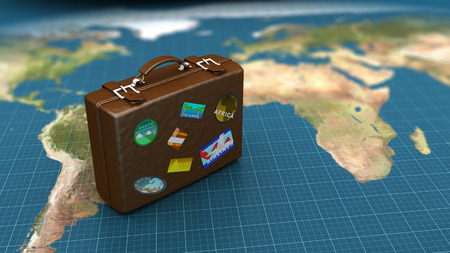 passenger transportation: 3d illustration of travel luggage on world map