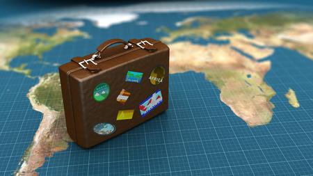 bagagli: 3d illustrazione di bagagli di viaggio sulla mappa del mondo