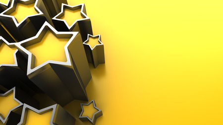 gold stars: 3d illustration of yellow background with stars