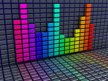 multi level: 3d illustration of music spectrum background Stock Photo