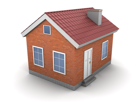 red brick: 3d illustration of house over white background Stock Photo