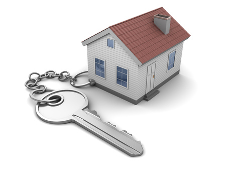 keychain: 3d illustration of key and house keychain, over white