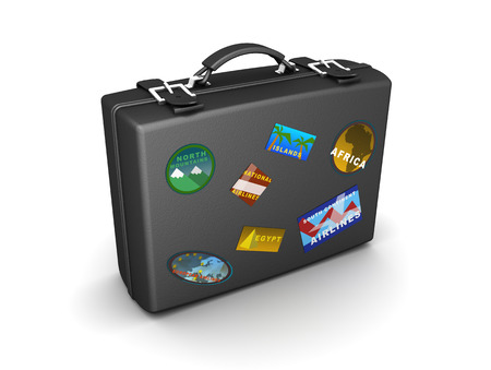 travel backgrounds: 3d illustration of travel case over white background