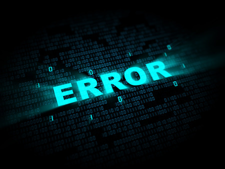 error message: abstract 3d illustration of binary data and error message