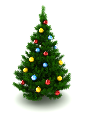 christmastree: 3d illustration of decorated christmas tree, over white background