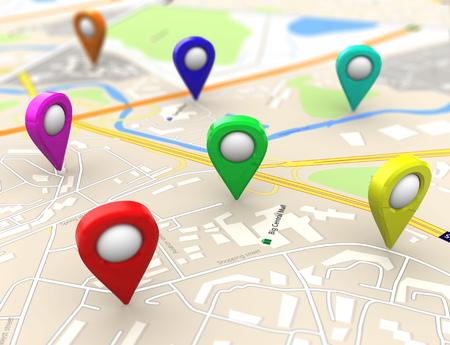 Illustrazione 3D di mappe della città con target colorati Archivio Fotografico - 49107179