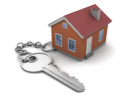 keychain: 3d illustration of house keychain, over white background