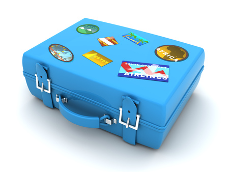 travelling: 3d illustration of blue case with travel labels