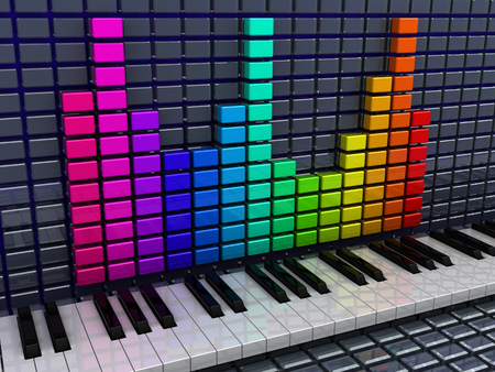 3d illustration of audio spectrum and piano keys, music recording concept