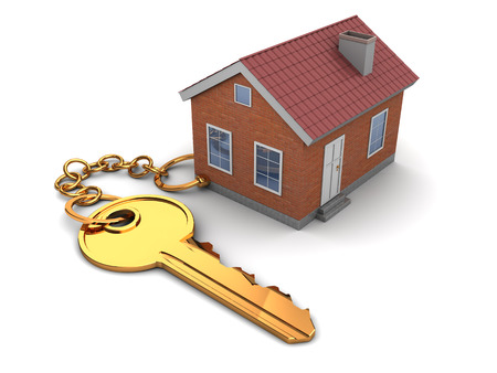 home concept: 3d illustration of house keychain, over white background