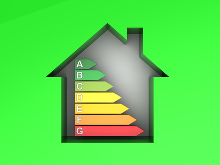 purchasing power: 3d illustration of house with power rating Stock Photo