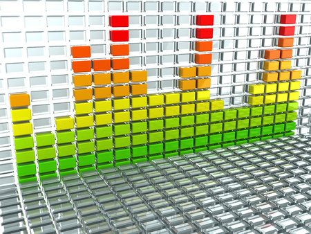 multi level: abstract 3d illustration of audio spectrum background