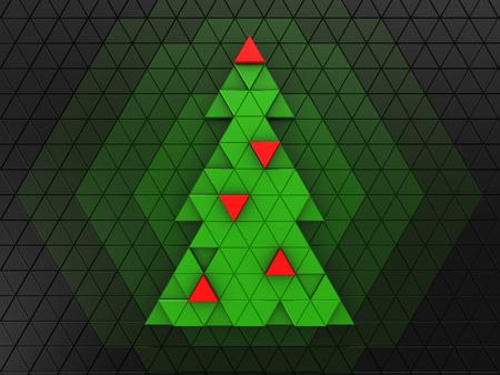 christmas tree illustration: 3d illustration of green christmas tree over dark background Stock Photo