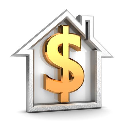 signo pesos: Ilustración 3d abstracto de símbolo de la casa con la muestra de dólar de oro
