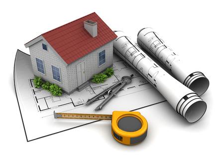 rural development: 3d illustration of house model and blueprint, over white background Stock Photo
