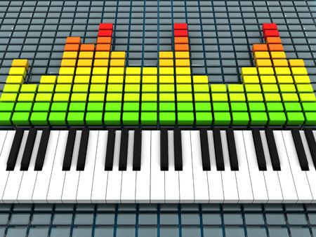multi level: 3d illustration of audio spectrum and piano, music recording concept Stock Photo