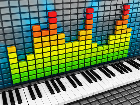 loudness: abstract 3d illustration of piano keys and music spectrum