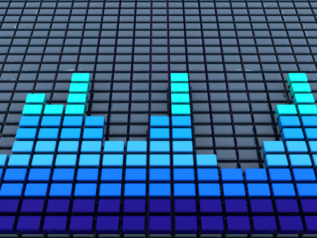 decibel: 3d illustration of audio spectrum background, blue colors