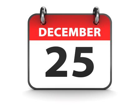 december 25th: 3d illustration of 25th december calendar