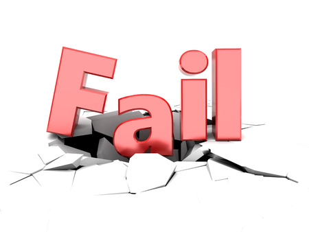 economic depression: 3d illustration of fail sign on cracked white background
