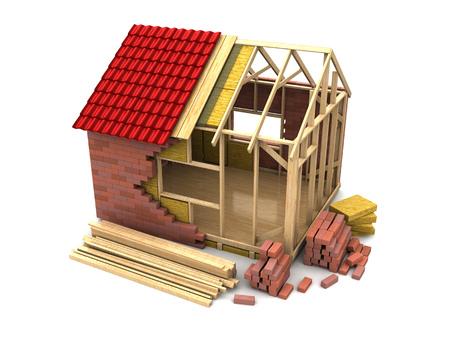 3d illustration of frame house construction, over white background Standard-Bild
