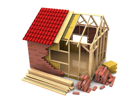 house render: 3d illustration of frame house construction, over white background Stock Photo