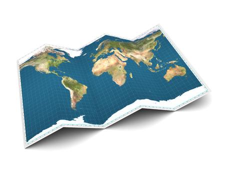 3D-afbeelding van de kaart van de wereld op een witte achtergrond