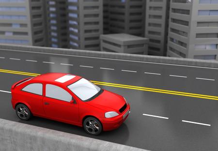 赤い車と都市の道路の 3 d イラストレーション