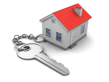 keychain: 3d illustration of house keychain, over white Stock Photo