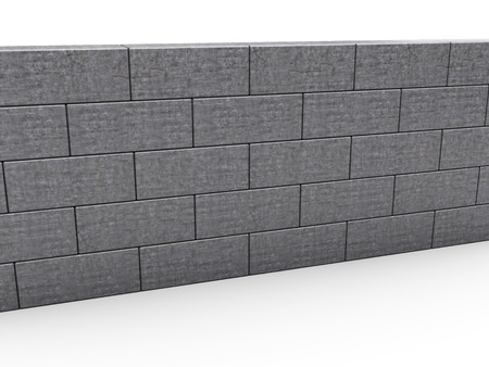 building bricks: 3d illustration of gray brick wall over white background
