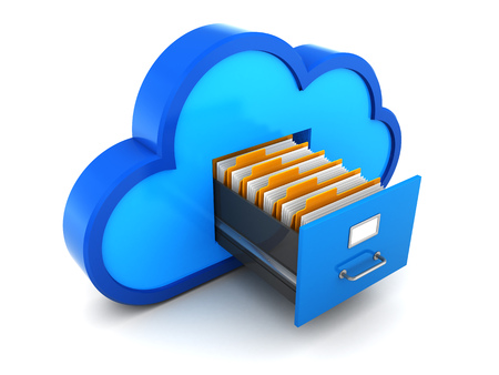 3d illustration of cloud storage with documents concept