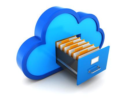 red informatica: 3d ilustración de almacenamiento en la nube con documentos concepto Foto de archivo