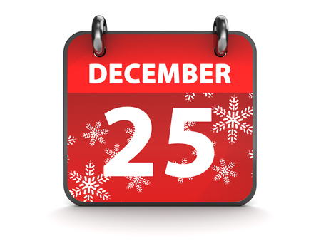 december 25th: 3d illustration of calendar with 25th december page