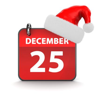 diciembre: 3d ilustración de diciembre del calendario 25 y el sombrero de la Navidad